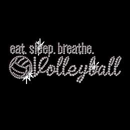 Eat Sleep Breathe & Volleyball Rhinestone Transfer