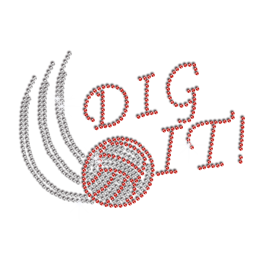 Bling Dig It Volleyball Iron-on Rhinestone Transfer