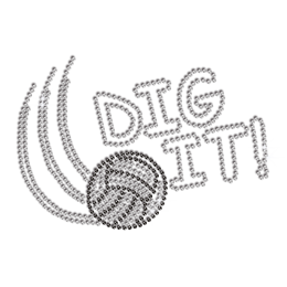 Cool Volleyball Dig It Iron on Rhinestone Transfer