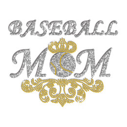 Pretty Baseball Mom Iron-on Glitter Rhinestone Transfer