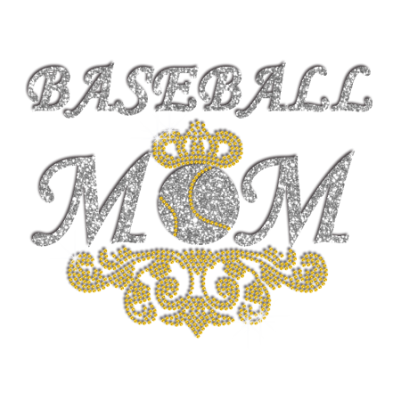 Pretty Baseball Mom Iron-on Glitter Rhinestone Transfer - CSTOWN