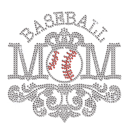 Crystal Baseball Mom Iron-on Rhinestone Transfer