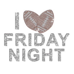 I Love Friday Night Football Iron on Rhinestone Transfer