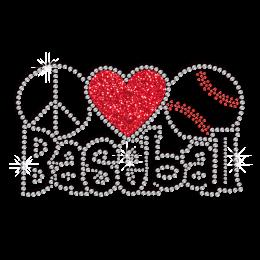 Creative Peace Love Baseball Iron on Glitter Rhinestone Transfer