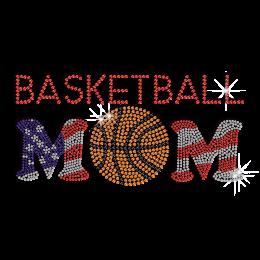 Pretty Basketball Mom iron-on Rhinestone Transfer