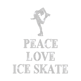 Peace Love & Skating Dance Hotfix Rhinestone Transfer