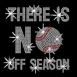 No Off Baseball Season Iron-on Rhinestone Transfer