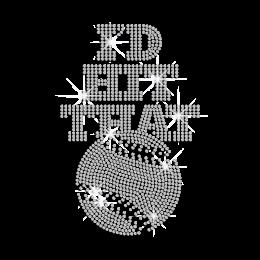 I'd Hit That Baseball Iron-on Rhinestone Transfer