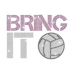 Twinkling Bring It Volleyball Hot-fix Rhinestone Transfer