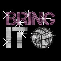 Twinkling Bring It Volleyball Hot-fix Rhinestone Transfer