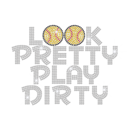 Look Pretty Play Dirty Baseball Iron-on Rhinestone Transfer