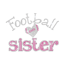 Hot Pink Sister Loves Football Iron-on Rhinestone Transfer