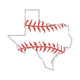 Texas Baseball Iron on Rhinestone Transfer