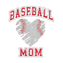 Baseball Mom Heart Pattern Iron on Rhinestone Glitter Transfer