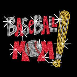 Bling Baseball Mom ISS Show Iron-on Rhinestone Transfer