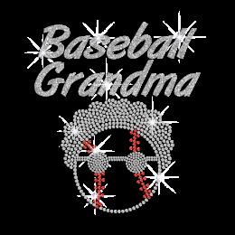 Glittering Baseball Grandma Hotfix Rhinestone Transfer