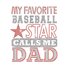 Cheer Baseball Dad Hotfix Rhinestone Glitter Transfer