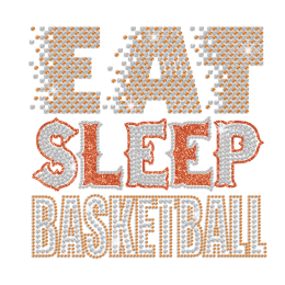 Eat Sleep Basketball ISS Show Iron-on Metal Nailhead Transfer Motif