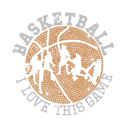 Bling I Love This Basketball Game Hotfix Rhinestone Rhinestud Transfer