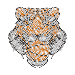 Magnificent Tiger Face Iron on Rhinestone Transfer