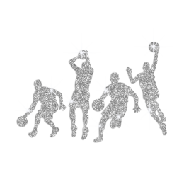 Shooting at the Basket Iron on Rhinestone Transfer Decal