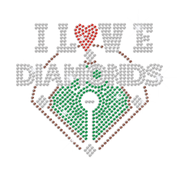 I Love Diamonds Iron on Rhinestone Transfer Decal