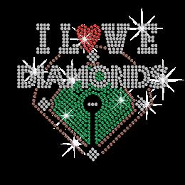 I Love Diamonds Iron on Rhinestone Transfer Decal