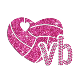 Glittering Love Volleyball Iron on Rhinestone Transfer Decal