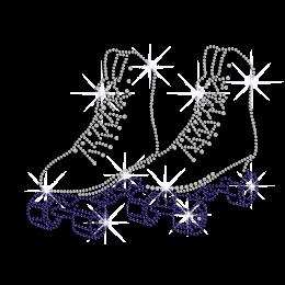 Crystal Roller Skate Iron on Rhinestone Transfer Motif