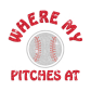 Customized Where My Pitches At Iron on Rhinestone Transfer Decal