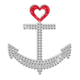 Sparkle Anchor and Heart Hotfix Bling Transfer Motif