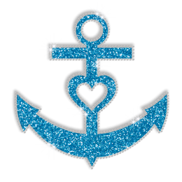 Sparkle Blue Anchor Hotfix Bling Transfer Design for Shirts