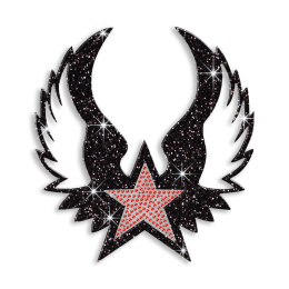 Flying Star Wing Hot-fix Rhinestone Glitter Motif