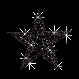 Hard Rock Double Stars Iron-on Glitter Decal