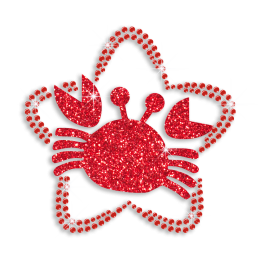 Iron-on Cancer Sign Symbol Sequin Glitter Design
