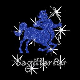 Sagittarius Sign Symbol Rhinestone Glitter Motif