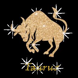 Gold Shining Taurus Bull Hot fix Rhinestone Glitter Motif