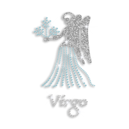 Iron-on Bling Virgo Angel Rhinestone Glitter Transfer