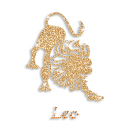 Gold Bling Leo Symbol Iron-on Rhinestone Glitter Transfer