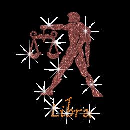 Hot-fix Libra Man Symbol Rhinestone Glitter Motif