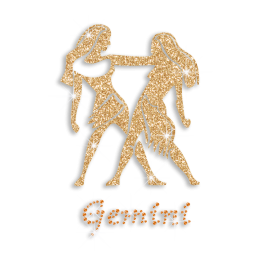 Gold Gemini Zodiac Iron on Glitter Rhinestone Transfer