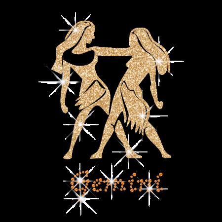 Bling Gemini Symbol Iron-on Glitter Rhinestone Transfer - CSTOWN