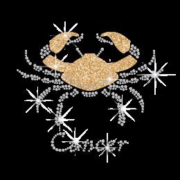 Bling Cancer Zodiac Iron-on Glitter Rhinestone Transfer