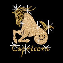 Gold Capricorn Zodiac Iron-on Glitter Rhinestone Transfer