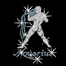 Cool Aquarius Zodiac Iron-on Glitter Rhinestone Transfer