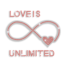 Bling Unlimited Love Heart Iron-on Rhinestone Transfer