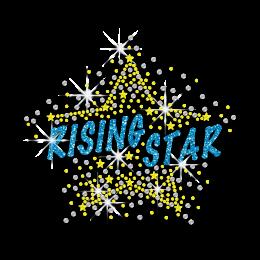 Bling Rising Star Iron-on Rhinestone Glitter Nailhead Transfer