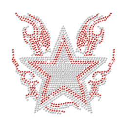 Red Sliver Star On Fire Rhinestone Motif