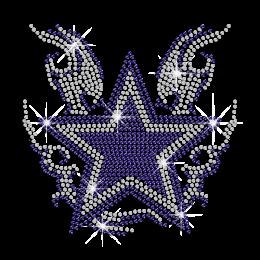 Crystal & Blue Star Iron-on Rhinestone Transfer