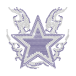 Bling Blue Sliver Star On Fire Rhinestone Motif